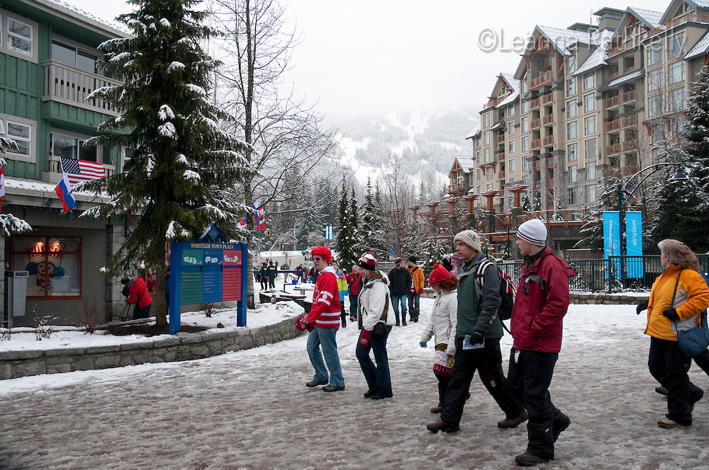 Fresh snow whitens the village during the 2010 Olympic Winter Games in Whistler, BC Canada.