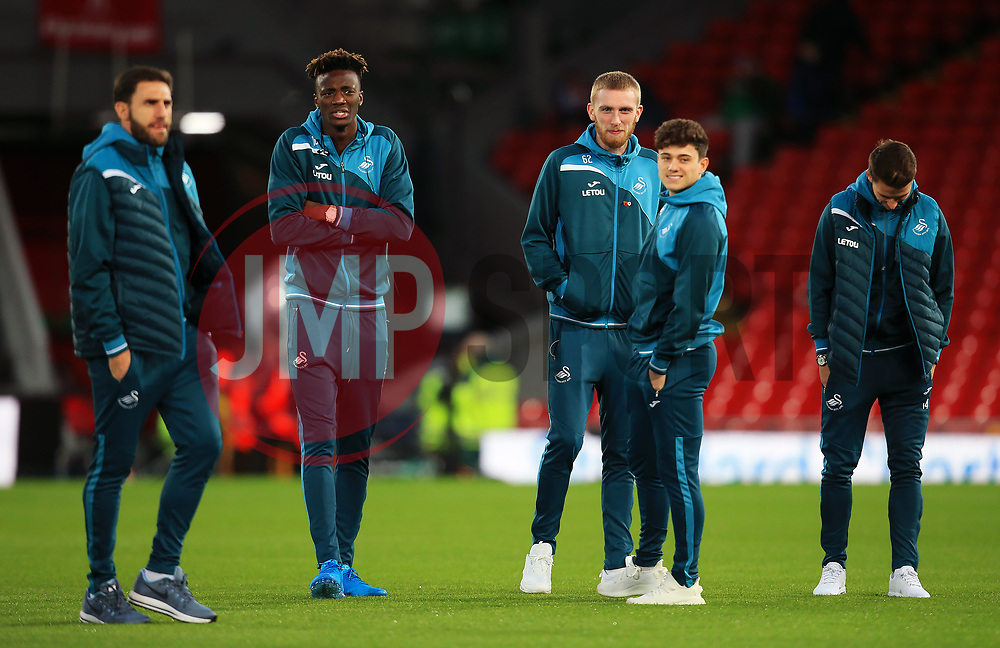 Tammy Abraham of Swansea City and team mates gather on the pitch on arrival at Anfield - Mandatory by-line: Matt McNulty/JMP - 26/12/2017 - FOOTBALL - Anfield - Liverpool, England - Liverpool v Swansea City - Premier League