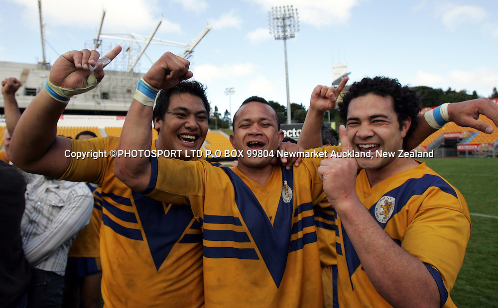 Mt Albert teammates celebrating their win.<br />
