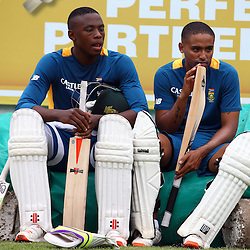 Durban South Africa - December 22,  Kagiso Rabada (L) and (R) Dane Piedt during the South African training session at Sahara Stadium Kingsmead, 22 December 2015. (Photo by Steve Haag) images for social media must have consent from Steve Haag