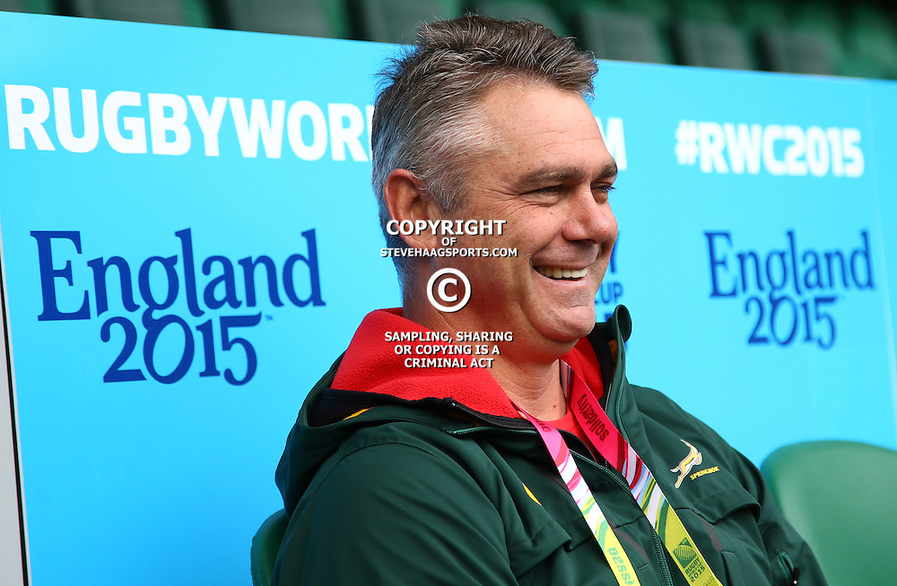 LONDON, ENGLAND - OCTOBER 23: Heyneke Meyer (Head Coach) of South Africa during the South African national rugby team Captains Run at Twickenham Stadium on October 23, 2015 in London, England. (Photo by Steve Haag/Gallo Images)