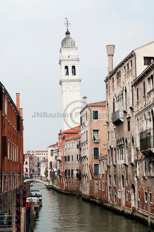Leaning Bell Tower of the Greek Orthodox Cathedral in Venice, Italy