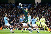 Manchester City goalkeeper Ederson (31) gathers the high ball during the Champions League match between Manchester City and Dinamo Zagreb at the Etihad Stadium, Manchester, England on 1 October 2019.
