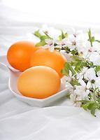Orange easter eggs in in bowl