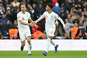 England's Jadon Sancho celebrating with England's Harry Kane after England's Jesse Lingard scored during the UEFA Nations League match between England and Croatia at Wembley Stadium, London, England on 18 November 2018.