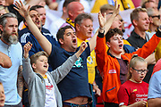 Newport County fans during the EFL Sky Bet League 2 Play Off Final match between Newport County and Tranmere Rovers at Wembley Stadium, London, England on 25 May 2019.