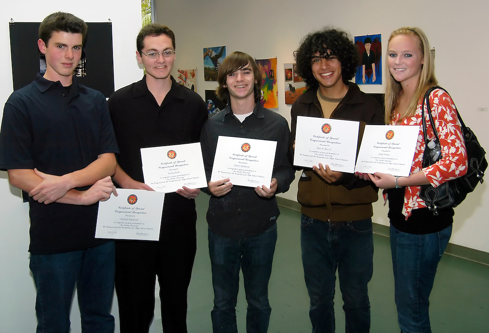 Manhattan Beach, CA - May 23rd, 2008:..2008 Congressional High School Art Show Competition sponsored by Jane Harman...Some of Redondo Beach High School's SCROC photography participants with their certificates: l to r: Mike Majetitsch, Jeremy Koehr, Tanner McKenzie, Hans Rico, Emily Pinney..Photo By Bernard Fallon