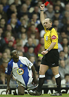 Photo: Aidan Ellis.<br /> Blackburn Rovers v Manchester City. The FA Cup. 11/03/2007.<br /> Rovers Aaron Mokoena is sent off by referee Mike Dean