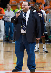 Recording artist Benny Dodd sings that National Anthem.  ..The Virginia Cavaliers men's basketball team faced the Howard Bison at the John Paul Jones Arena in Charlottesville, VA on November 14, 2007.