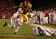 25 OCTOBER 2008: Iowa State running back Jason Scales (6) dives in the end zone for a touchdown in the first half of an NCAA college football game between Iowa State and Texas A&M, at Jack Trice Stadium in Ames, Iowa on Saturday Oct. 25, 2008. Texas A&M beat Iowa State 49-35.
