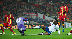 LONDON, ENGLAND - Tuesday, March 29, 2011: England's Daniel Welbeck misses a chance on his debut during the international friendly match against Ghana at Wembley Stadium. (Photo by David Rawcliffe/Propaganda)