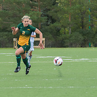 2nd year forward Kirsten Finley (2) of the Regina Cougars runs after a quick pass during the Women's Soccer home game on September 11 at U of R Field. Credit: Arthur Ward/Arthur Images