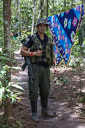 El Diamante, Meta, Colombia - 18.09.2016        <br /> <br /> Guerilla camp during the 10th conference of the marxist FARC-EP in El Diamante, a Guerilla controlled area in the Colombian district Meta. Few days ahead of the peace contract passing after 52 years of war with the Colombian Governement wants the FARC decide on the 7-days long conferce their transformation into a unarmed political organization. <br /> <br /> Guerilla-Camp zur zehnten Konferenz der marxistischen FARC-EP in El Diamante, einem von der Guerilla kontrollierten Gebiet in der kolumbianischen Region Meta. Wenige Tage vor der geplanten Verabschiedung eines Friedensvertrags nach 52 Jahren Krieg mit der kolumbianischen Regierung will die FARC auf ihrer sieben taegigen Konferenz die Umwandlung in eine unbewaffneten politischen Organisation beschlieflen. <br />  <br /> Photo: Bjoern Kietzmann