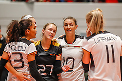 16.05.2019, Montreux, SUI, Montreux Volley Masters 2019, Deutschland vs Polen, im Bild Denise Imoudu (Germany #13), Elisa Lohmann (Germany #27), Lena Stigrot (Germany #10), Louisa Lippmann (Germany #11) // during the Montreux Volley Masters match between Germany and Poland in Montreux, Switzerland on 2019/05/16. EXPA Pictures © 2019, PhotoCredit: EXPA/ Eibner-Pressefoto/ beautiful sports/Schiller<br /> <br /> *****ATTENTION - OUT of GER*****