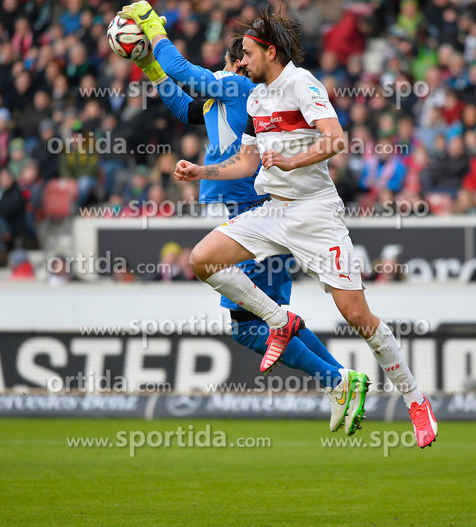 31.01.2015, Mercedes Benz Arena, Stuttgart, GER, 1. FBL, VfB Stuttgart vs Borussia Moenchengladbach, 18. Runde, im Bild Torwart Yann Sommer Borussia Moenchengladbach vor Martin Harnik VfB Stuttgart am Ball Aktion Zweikampf Aktion // during the German Bundesliga 18th round match between VfB Stuttgart and Borussia Moenchengladbach at the Mercedes Benz Arena in Stuttgart, Germany on 2015/01/31. EXPA Pictures &copy; 2015, PhotoCredit: EXPA/ Eibner-Pressefoto/ Weber<br /> <br /> *****ATTENTION - OUT of GER*****