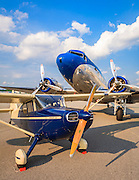 Ron Alexander's DC-3 and a Stinson Voyager on the ramp at Briscoe Field (LZU) in Lawrenceville, Ga.