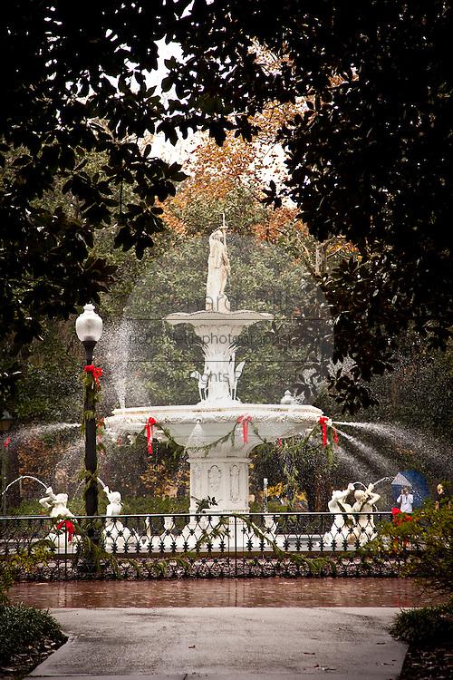 Forsyth fountain in Forsyth Park at Christmas time in Savannah, Georgia.