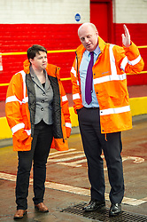 Pictured: Ruth Davidson and Lothian Buses Managing Director Richard Hall<br /> Scottish Conservative leader Ruth Davidson, MSP,  visited Lothian Buses today in Edinburgh to meet apprentices at the start of Apprenticeship Week. While there she was shown round by Managing Director Richard Hall and attempted to change a wheel.<br /> <br /> Ger Harley | EEm 7 March 2017