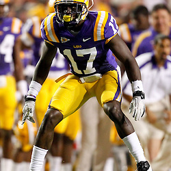 September 10, 2011; Baton Rouge, LA, USA;  LSU Tigers cornerback Morris Claiborne (17) against the Northwestern State Demons during the first half at Tiger Stadium.  Mandatory Credit: Derick E. Hingle