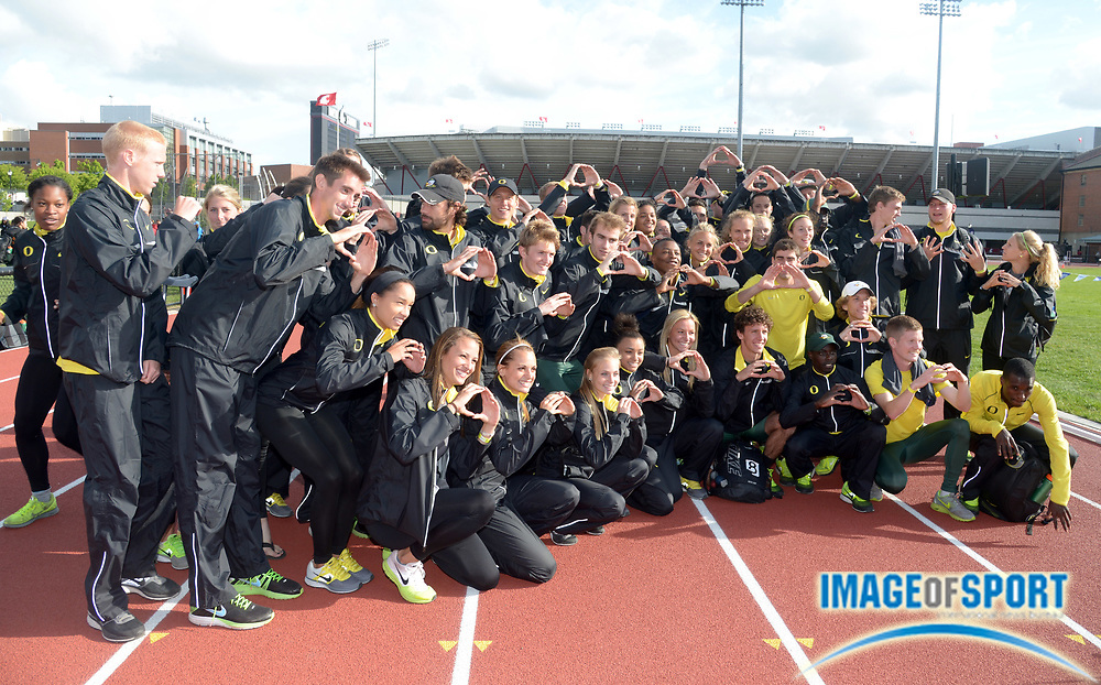 May 18, 2014; Pullman, WA, USA; Members of the Oregon mens and womens team pose after winning the team titles in the 2014 Pac-12 Championships at the Mooberry Track & Field Complex.
