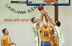 Goran Jagodnik and  Jasmin Hukic of KD Ilirija vs Zolotic and Gorsek of Celje during basketball match between KD Ilirija and KK Celje in 2. SKL za moske 2016/17, on November 25, 2016 in Ljubljanski grad, Ljubljana, Slovenia. Photo by Vid Ponikvar / Sportida
