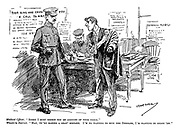 """Medical Officer. """"Sorry I must reject you on account of your teeth."""" Would-be-Recruit. """"Man, ye're making a gran' mistake. I'm no wanting to bite the Germans, I'm wanting to shoot 'em."""" (a man attempts to enlist at an army recruitment office at the start of WW1 infront of posters General Mobilisation, Regiment Recruits Wanted, Your King And Country Needs You and A Call To Arms)"""