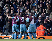 Photo: Glyn Thomas.<br />Birmingham City v West Ham United. The Barclays Premiership. 05/12/2005.<br /> West Ham's Bobby Zamora celebrates with teammates in front of his team's fans after scoring a goal.
