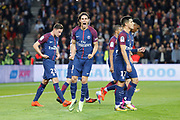Edinson Roberto Paulo Cavani Gomez (psg) (El Matador) (El Botija) (Florestan) scored the second goal and celebrated it, Julian Draxler (PSG), Edinson Roberto Paulo Cavani Gomez (psg) (El Matador) (El Botija) (Florestan), Yuri Berchiche (PSG), Presnel Kimpembe (PSG) during the French Championship Ligue 1 football match between Paris Saint-Germain and OGC Nice on October 27, 2017 at Parc des Princes stadium in Paris, France - Photo Stephane Allaman / ProSportsImages / DPPI