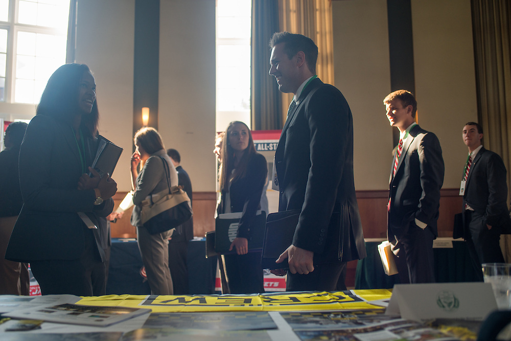 Students apart of the Sports Administration department in the College of Business get a great opportunity to speak with big name sports team representatives during the Sports Administration Career Fair.  Photo by Elizabeth Held