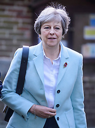 © Licensed to London News Pictures. 05/11/2017. British prime minister THERESA MAY attends a morning church service with her husband PHILIP MAY, near her constituency home. Photo credit: Ben Cawthra/LNP