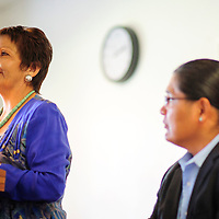 090214  Adron Gardner<br /> <br /> Fannie Lowe Atcitty, left,  introduces herself as Navajo Nation vice president candidate as running mate Chris Deshchene looks on at the Navajoland Inn &amp; Suites in St. Michaels Tuesday.