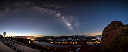 """Milky Way Above Donner Lake 2"" - Night time stitched panoramic photograph of the Milky Way above Donner Lake and Truckee, California."