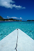 An outrigger canoe in the lagoon in Moorea, French Polynesia