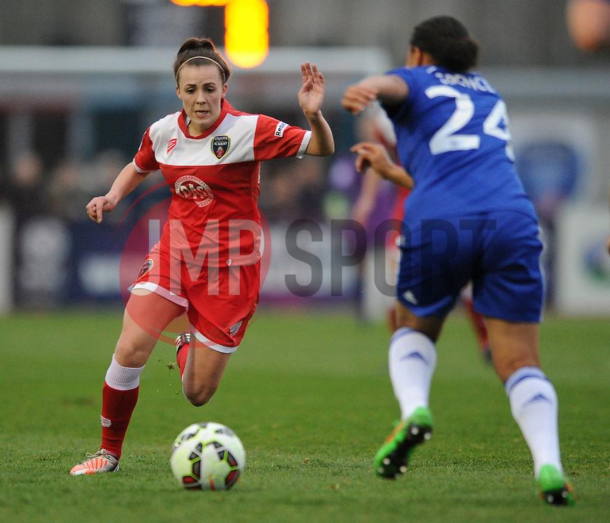 Bristol Academy Womens' Sophie Ingle closes down Drew Spence of Chelsea Ladies - Photo mandatory by-line: Dougie Allward/JMP - Mobile: 07966 386802 - 02/04/2015 - SPORT - Football - Bristol - SGS Wise Campus - BAWFC v Chelsea Ladies - Womens Super League