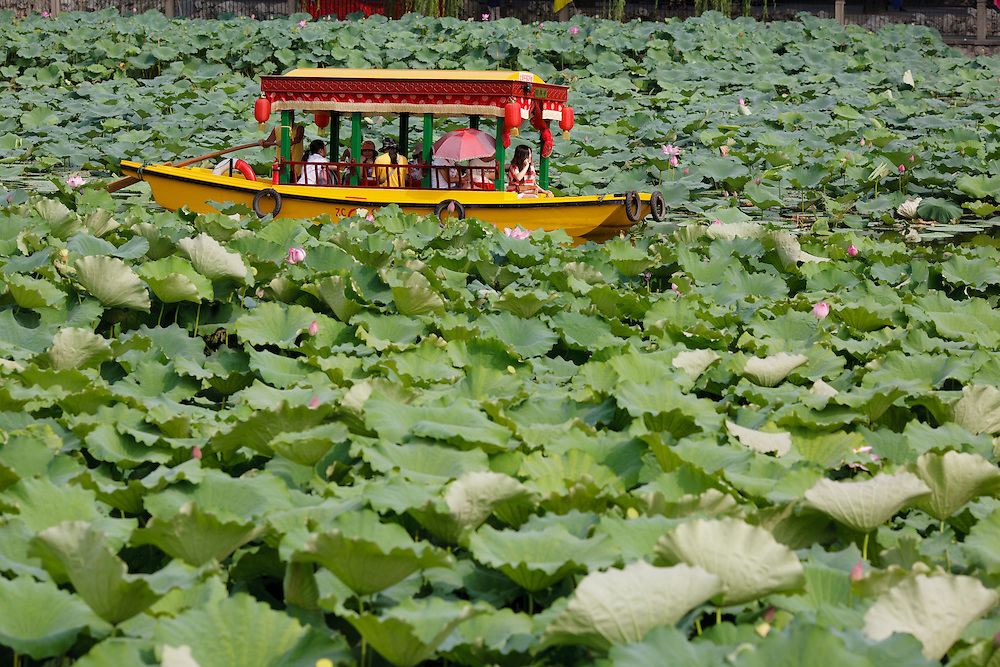 People riding a boat among water flowers in Behai park in Beijing, China.