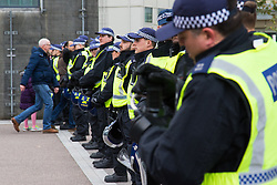 London, November 6th 2016. Police await the exiting crowds at The Emirates Stadium after the North London Derby between Arsenal FC and Tottenham Hotspur, that ended in a 1-1 draw.