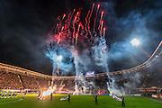 ALKMAAR - 02-03-2017, AZ - sc cambuur, AFAS Stadion, vuurwerk opkomst.