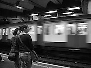 Waiting for a train, The London underground - B&W