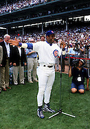 "CHICAGO, IL-SEPTEMBER 20:   Sammy Sosa of the Chicago Cubs acknowledges his fans during Sammy Sosa day on September 20, 1998 at Wrigley Field in Chicago, Illinois.   Sammy Sosa and Mark McGwire were part of what has been called the ""Great Home Run Race of 1998"" between the two as they were both attempting to break the single season home run record of 61 held by Roger Maris since 1961.  (Photo by Ron Vesely)"