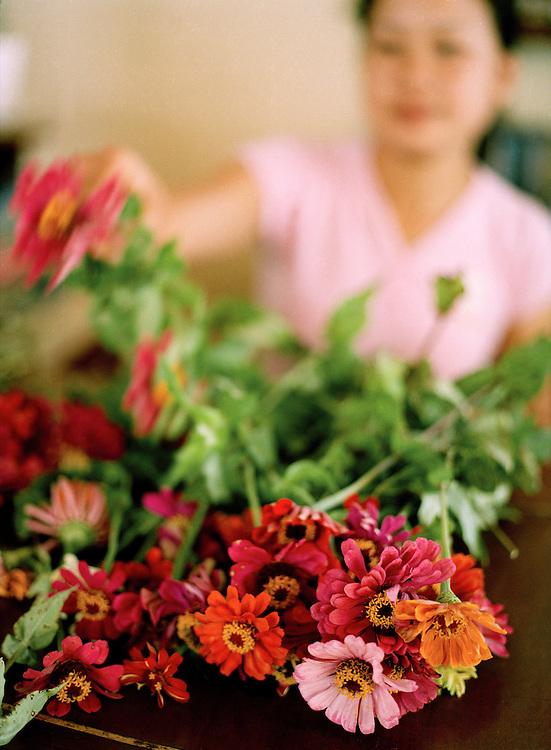 Choosing flowers at L?Elephant restaurant.