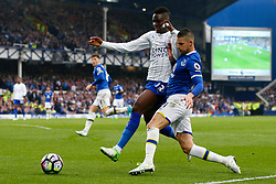 Kevin Mirallas of Everton challenges Daniel Amartey of Leicester City - Mandatory by-line: Matt McNulty/JMP - 09/04/2017 - FOOTBALL - Goodison Park - Liverpool, England - Everton v Leicester City - Premier League
