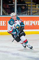 KELOWNA, CANADA - JANUARY 30:  Michael Farren #16 of the Kelowna Rockets skates against the Seattle Thunderbirds on January 30, 2019 at Prospera Place in Kelowna, British Columbia, Canada.  (Photo by Marissa Baecker/Shoot the Breeze)