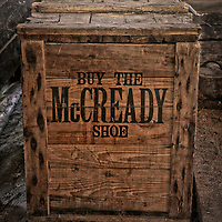 An old box with an advertisement for the McCready Shoe Company of Montreal which provided much of the footwear for Canadian troops in World War One.