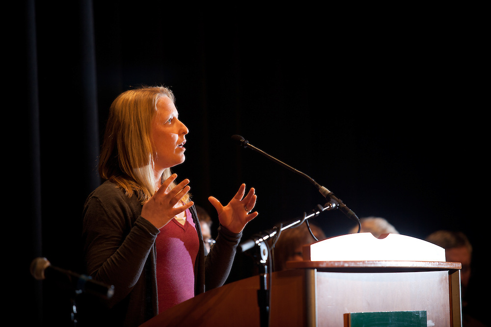 Natalie Kruse, Assistant Professor of Environmental Studies at Ohio University, discusses water safety issues at the Oil & Gas Leasing Forum at Baker Center on March 27, 2012.