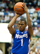 Joe Jackson #1 of the Memphis Tigers shoots a free-throw against the SMU Mustangs at Moody Coliseum on Wednesday, February 6, 2013 in University Park, Texas. (Cooper Neill/The Dallas Morning News)