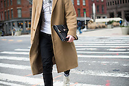 Camel Coat and Portfolio Clutch, NYFWM Day 1