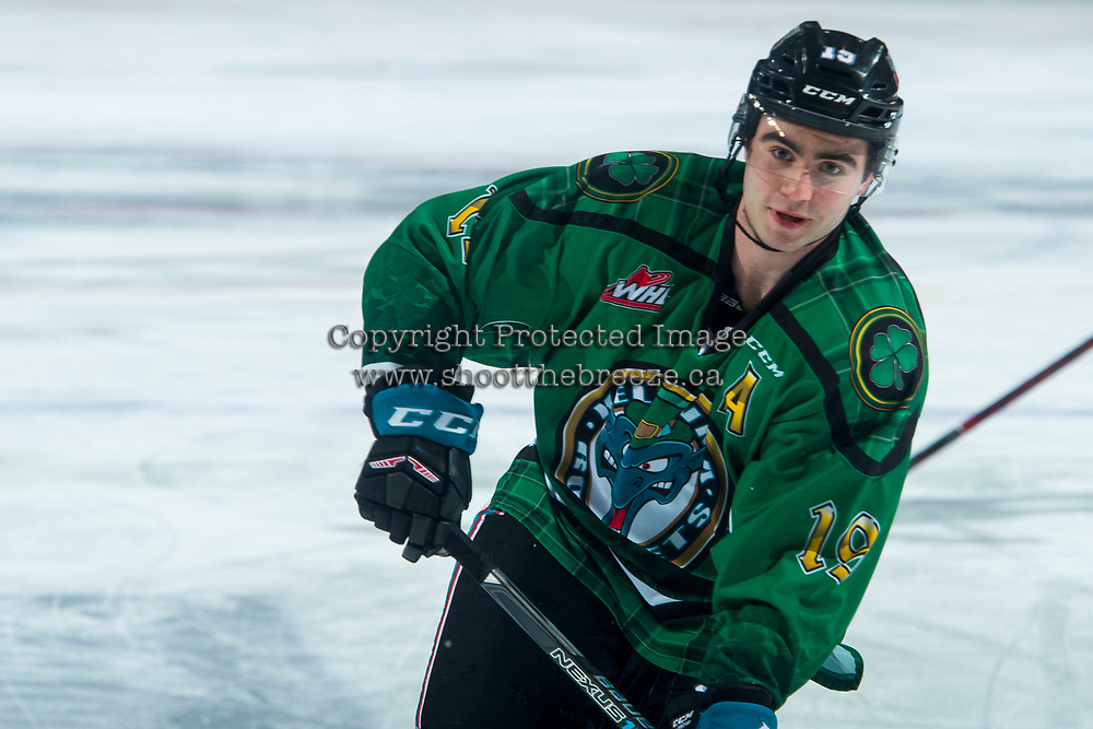 KELOWNA, CANADA - MARCH 18: Dillon Dube #19 of the Kelowna Rockets warms up against the Vancouver Giants  on March 1, 2018 at Prospera Place in Kelowna, British Columbia, Canada.  (Photo by Marissa Baecker/Shoot the Breeze)  *** Local Caption ***