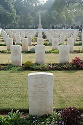 © Licensed to London News Pictures. 11/11/2012. Delhi, India. The gravestones of those in the armed forces who died during the world wars at Delhi War Cemetery, India, where a Remembrance Day ceremony was held today. Remembrance Day (also known as Poppy Day or Armistice Day) is a memorial day observed in Commonwealth countries since the end of World War I to remember the members of their armed forces who have died in the line of duty. This day, or alternative dates, are also recognized as special days for war remembrances in many non-Commonwealth countries. Remembrance Day is observed on 11 November to recall the end of hostilities of World War I on that date in 1918.   Photo credit : Richard Isaac/LNP