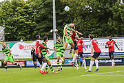 Forest Green Rovers Christian Dioge (9) heads the ball during the Vanarama National League match between Forest Green Rovers and York City at the New Lawn, Forest Green, United Kingdom on 20 August 2016. Photo by Shane Healey.
