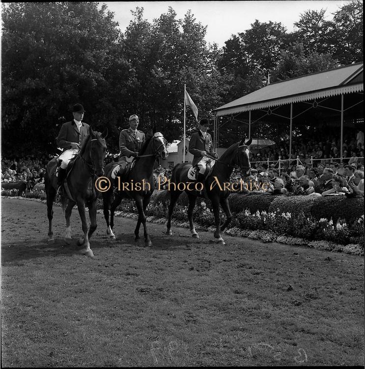05/08/1960<br /> 05/08/1960<br /> 05 August 1960<br /> R.D.S Horse Show Dublin (Friday). Aga Khan Trophy. The Danish Team for the Aga Khan Competition at the the Dublin Horse Show, Ballsbridge.